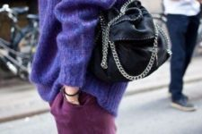 12 an ultraviolet sweater plus purple jeans for a colorful winter look