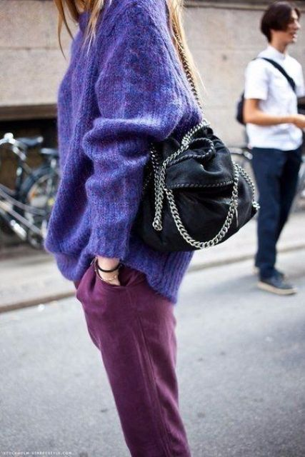 an ultraviolet sweater plus purple jeans for a colorful winter look