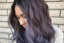 12 ashy grey wavy long bob with lavender and purple balayage perfectly match in the shades