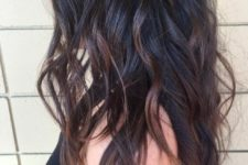 12 black wavy hair with red balayage looks very sexy
