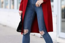 12 ripped skinnies, a red coat, a black top, fuchsia shoes for a cute and comfy look