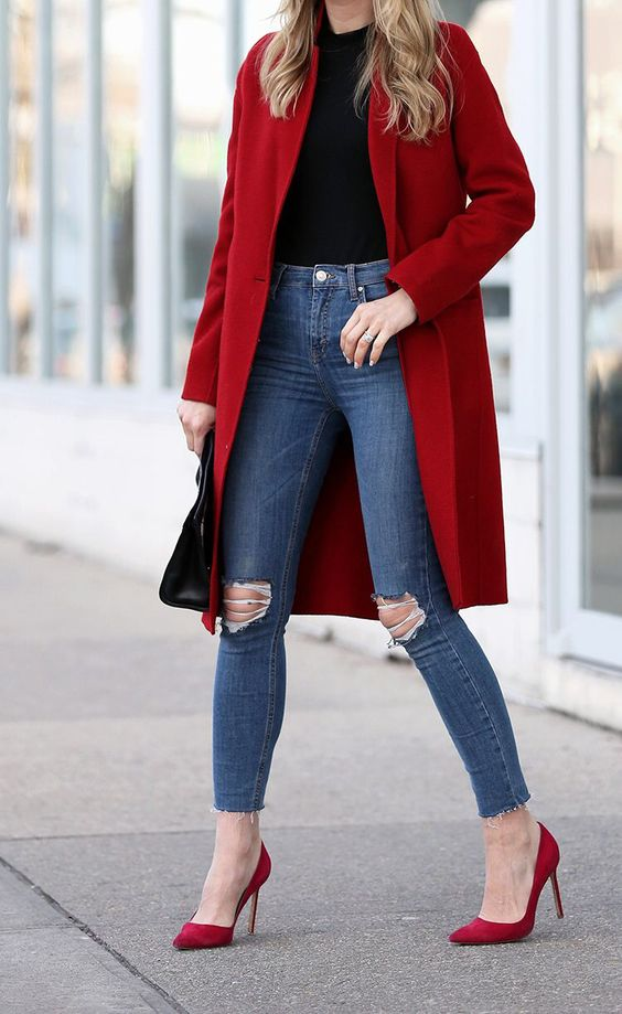 ripped skinnies, a red coat, a black top, fuchsia shoes for a cute and comfy look