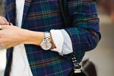 13 a white turtleneck sweater, a plaid blazer and blue jeans for a chic look