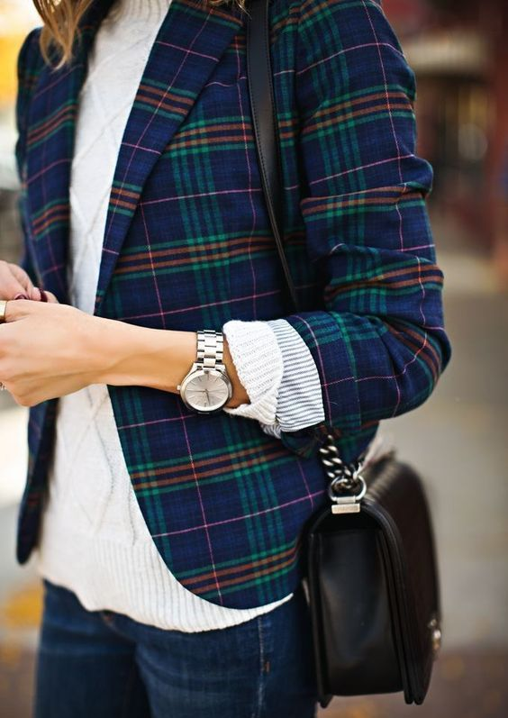 a white turtleneck sweater, a plaid blazer and blue jeans for a chic look
