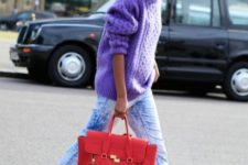 13 bleached denim, an ultraviolet sweater, black flats and a red bag for a colorful look