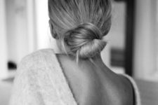 14 a simple and elegant low bun can be worn with a hat