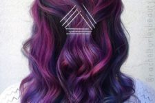 14 dark brown hair with lots of plum, blue and fuchsia highlights to achieve a super modern look