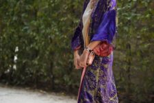 14 floral print ultraviolet velvet kimono will make any outfit look exquisite