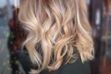 14 red and caramel hair of medium length with blonde balayage is a chic idea