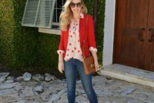 14 skinnies, a red polka dot shirt, a red blazer and blush shoes