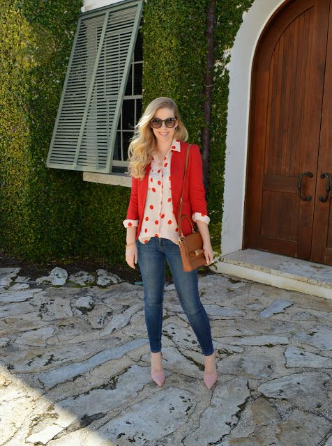 skinnies, a red polka dot shirt, a red blazer and blush shoes