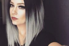 15 black hair with ashy grey ombre on an assymmetrical bob haircut