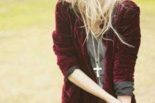15 black scallop edge shorts, a grey shirt, a burgundy velvet blazer