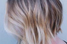 15 brown bob haircut with an uneven edge and blond balayage for a mind-blowing look