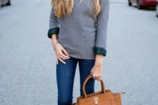 15 cropped skinnies, a plaid navy and green shirt, a grey cashmere sweater and grey heels