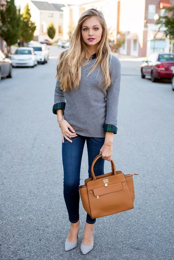 cropped skinnies, a plaid navy and green shirt, a grey cashmere sweater and grey heels