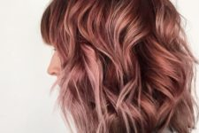 15 dark brunette hair with lots of rose gold highlights for a soft and eye-catchy look