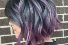 15 short ashy blue wavy bob with purple balayage looks super bold and attracts attention