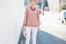 15 white jeans, a pretty pink peplum top, nude heels and a clutch