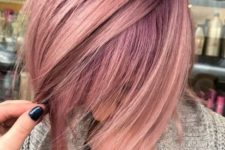 16 fair hair and rose gold highlights with an angled cut for a bold look