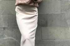 cozy winter look with a midi skirt