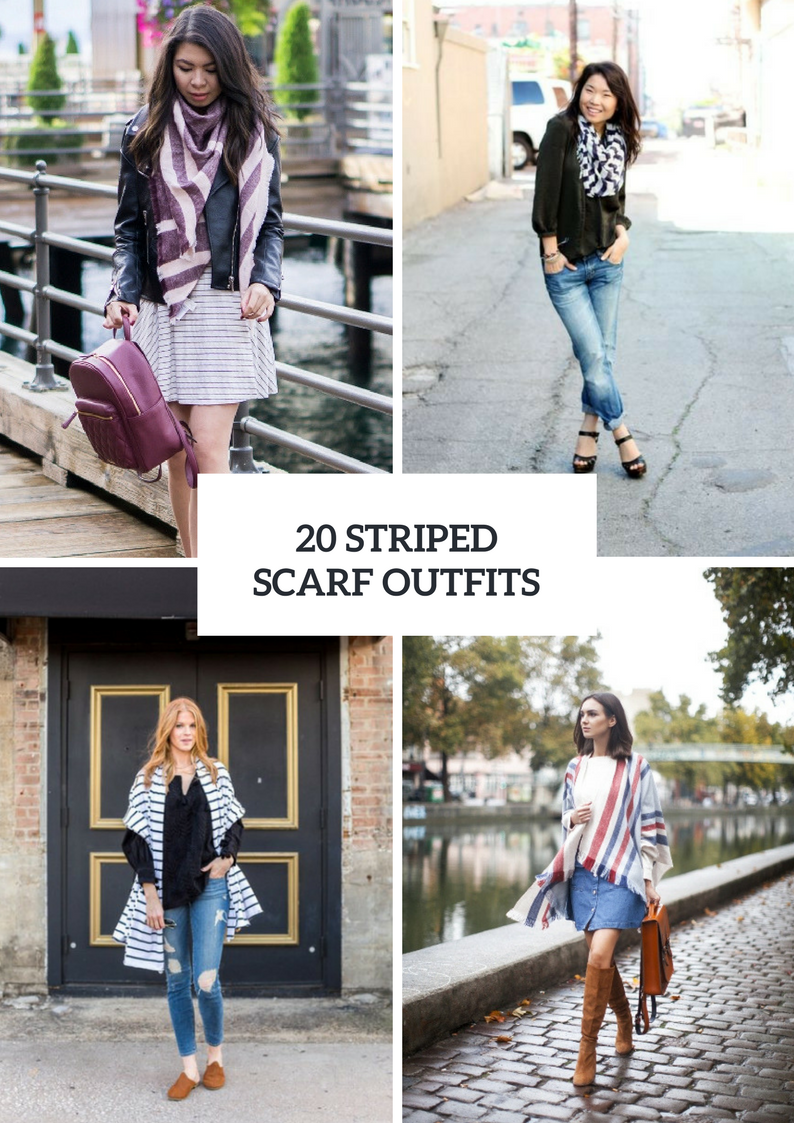 Gorgeous Outfits With Striped Scarves