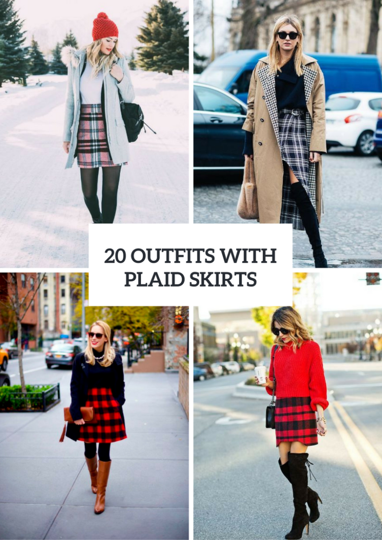 20 Outfits With Plaid Skirts For Winter