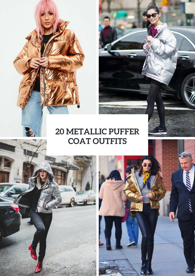 Women Outfits With Metallic Puffer Coats