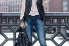 With beige blouse, jeans, heels and black bag