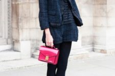 With black blouse, tweed jacket, pink bag and platform shoes
