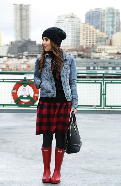481f44f9e With black shirt, denim jacket, black beanie, black tights, red boots and