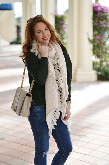 21 Fringe Scarf Outfit Ideas For Women - Styleoholic aaf10bd31
