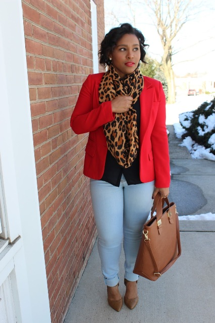 With black shirt, red blazer, blue pants, brown tote and brown pumps