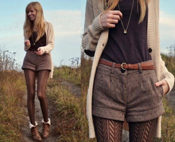 With brown shirt, knitted cardigan, brown belt, brown tights and leather boots