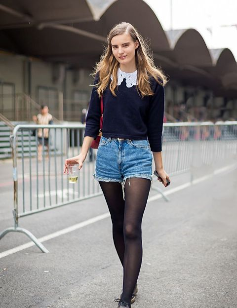 With crop sweater with white collar, flat shoes and red bag