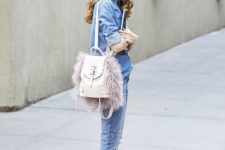 With denim shirt, cuffed jeans and printed pumps