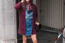 With denim shirt, denim skirt, marsala high boots, marsala cardigan and black bag