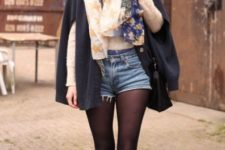 With floral scarf, cape coat and brown flats