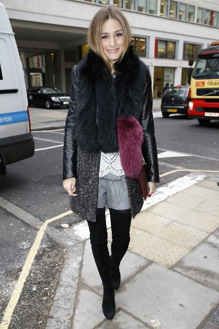 With fur coat, over the knee boots and black tights