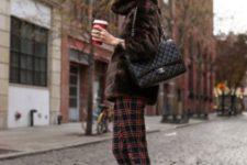 With fur jacket, black pumps and black bag