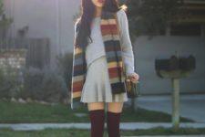 With gray dress, marsala boots and marsala knee socks