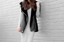 With gray midi dress and ankle boots