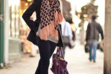 With gray shirt, skinny pants, platform shoes, blazer and purple bag