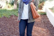 With jeans, beige suede boots, white t-shirt, gray cardigan and leather tote
