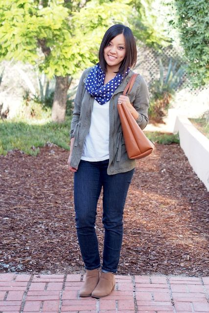 With jeans, beige suede boots, white t shirt, gray cardigan and leather tote