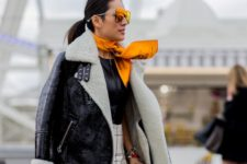 shearling jacket look