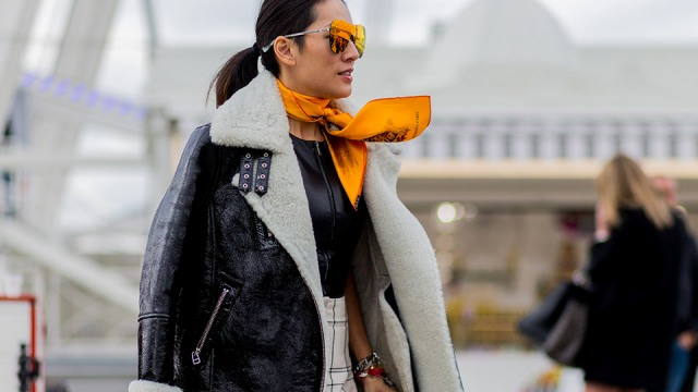 With leather shirt, printed skirt and shearling jacket