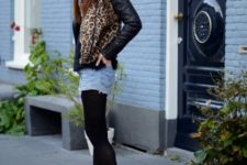 With leopard printed jacket and black ankle boots
