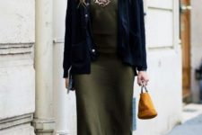 With leopard shirt, olive green midi dress, navy blue velvet jacket, flats and small bag