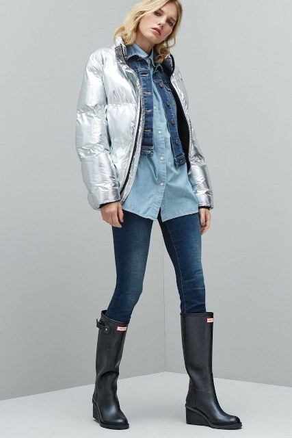 With light blue shirt, denim jacket, jeans and black high boots